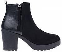 Женские черные ботинки на каблуке Inblu ZX-2V