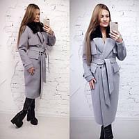 Зимнее женское пальто ниже колен с мехом мутон на воротнике