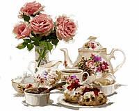 Раскраска по цифрам DIY Babylon Чай с клубничными пирожными (VP800) 40 х 50 см