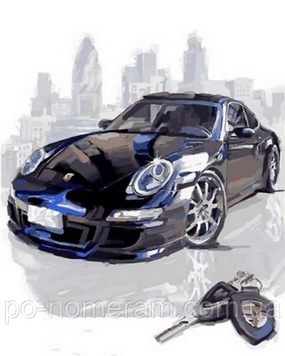 картины по номерам машины черный порше Vp805 40 х 50 см Diy Babylon