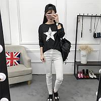 Женский  свитер-свитшот  Звезда черный,белый