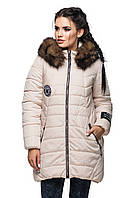 Зимняя куртка с натуральной опушкой.размер плюс