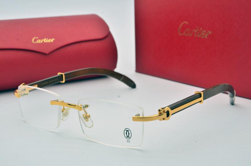 Оправа Cartier мужская с золотом и деревянным заушником 52f0eef8571c0