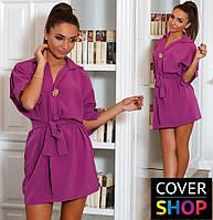 Платье-рубашка женское с брошкой, материал - костюмка, цвет - фиолетовый