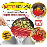 Дуршлаг-накладка-сито для слива воды промывания продуктов Better Strainer купить в Украине