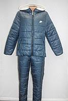 Теплый  женский зимний спортивный костюм nike на синтепоне синий