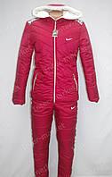 Очень теплый женский зимний спортивный костюм nike на синтепоне малиновый