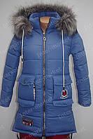 Подростковая зимняя куртка на замке с капюшоном и мехом синяя