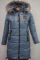 Подростковая зимняя куртка на замке с капюшоном и мехом светлый индиго, фото 1