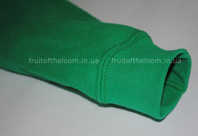 Ярко-зелёная детская классическая толстовка с капюшоном