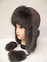 Женская шапка-ушанка из меха кролика 1210/27