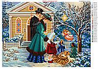 Схема для вышивки бисером Рождество в семейном кругу