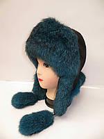 Женская шапка-ушанка из меха кролика 1210/29