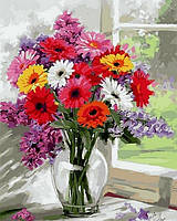 Картина по номерам NB797 Разноцветные герберы Худ Ричард Макнейл (40 х 50 см) Турбо Премиум