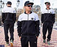 Мужской черный спортивный костюм с  серой полосой. Арт-13000
