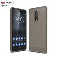 Чехол накладка TPU Fiber Carbon для Nokia 8 серый