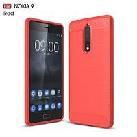 Чехол накладка TPU Fiber Carbon для Nokia 8 красный