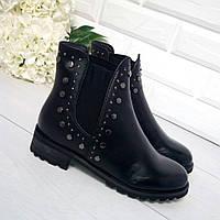 Ботинки демисезон «Domani» материал: экокожа, сбоку резинка цвет: черный р 36 38 39 41