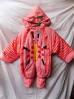 Комбинезон детский зима унисекс Китай грудничек розовый