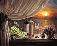 Рисование по номерам (на цветном холсте) DIY Babylon Premium Вино на закате (NB596) 40 х 50 см