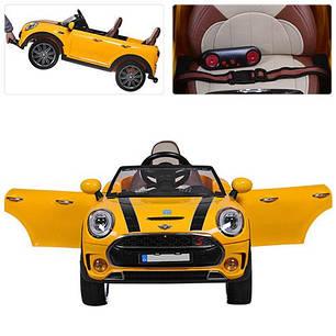 Детский электромобиль Mini Cooper M 3595 желтый, фото 2