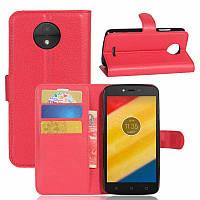 Чехол Motorola Moto C / XT1750 книжка PU-Кожа красный