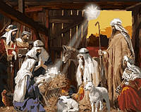 Рисование по номерам (на цветном холсте) DIY Babylon Premium Рождение Христа (NB790) 40 х 50 см
