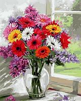 Рисование по номерам (на цветном холсте) DIY Babylon Premium Разноцветные герберы (NB797) 40 х 50 см