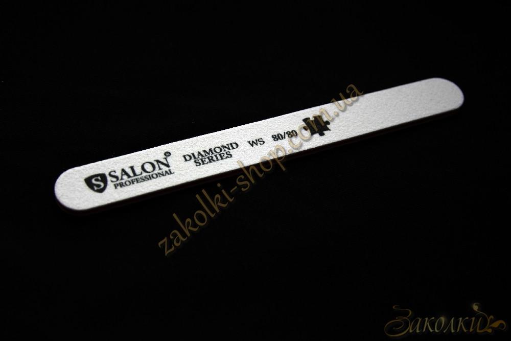 Пилка для нігтів Салон SALON Professional DIAMOND Series 80/80, пряма, вузька, 1 штука