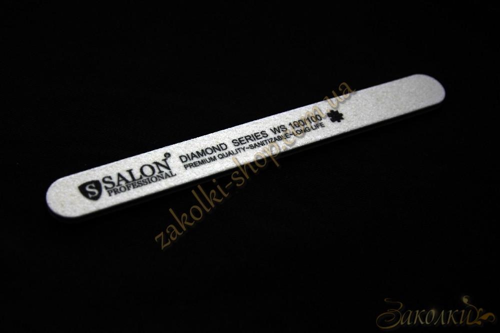 Пилка для нігтів Салон SALON Professional DIAMOND Series 100/100, пряма, вузька, 1 штука
