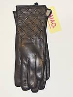 Кожаные женские перчатки (лайка) на шерсти
