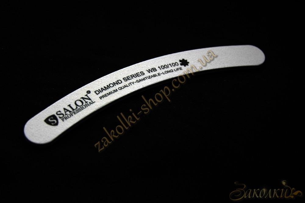 Пилка для нігтів Салон SALON Professional DIAMOND Series 100/100, бумеранг, вузька, 1 штука