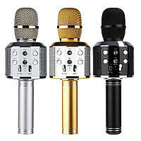 Микрофон для караоке K51 Gold с LED подсветкой (USB/Bluetooth)