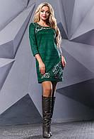 Женское платье, эко-замш, с перфорацией, зелёное, размер 42-48