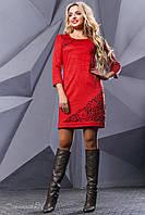 Женское платье, эко-замш, с перфорацией, красное, размер 42-48