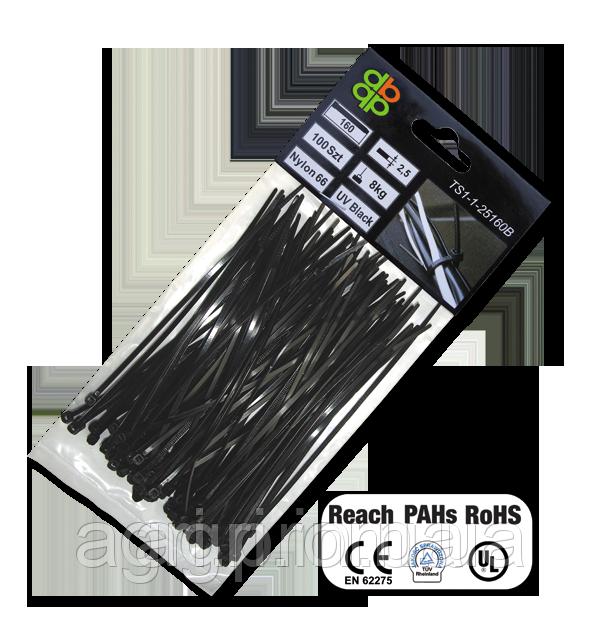 Стяжки кабельные пластиковые чёрные UV Black 2,5*160мм (100шт)
