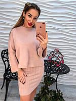 Женский стильный костюм-двойка: свитер и платье-майка машинная вязка (4 цвета)