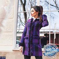 Пальто Сиреневое (клетчатое)