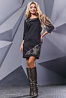 Женское платье, эко-замш, с перфорацией, чёрное, размер 42-48