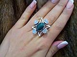 БРОНЬ Натуральный нефрит лунный камень адуляр в серебре кольцо с нефритом лунным камнем 17,5-18 размер Индия, фото 2