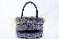 Кожаная сумка с мехом песца и чернобурки