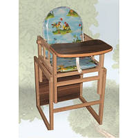 Стульчик для кормления, деревянный Sofia Eco ST-8 (лесная поляна), стульчик-трансформер
