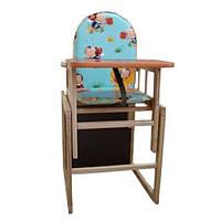 Стульчик для кормления деревянный Sofia Eco ST-8 голубой с божьей коровкой, стульчик-трансформер