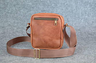 Компактная мужская сумка через плечо |10171| Коньяк