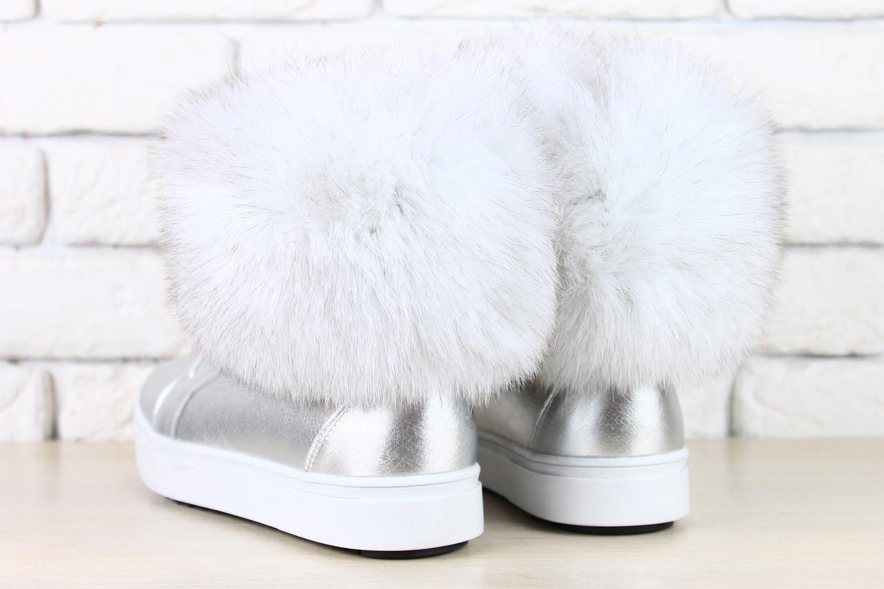 4ceb2e7a8 ... Женские зимние ботинки серебро натуральная кожа с мехом песца, ...