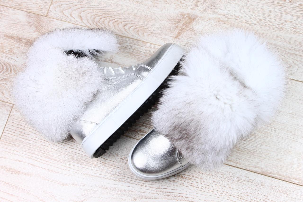 c4c163fe1 Женские зимние ботинки серебро натуральная кожа с мехом песца ...
