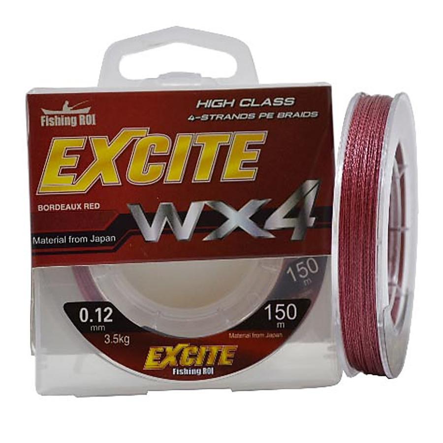 Шнур Fishing ROI Excite WX4 150м 0,14мм  4.7кг цвет-bordeaux red