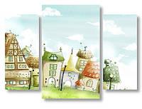 Модульная картина домики