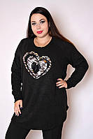 Туника большого размера Сапфир сердце, туника с пайетками большого размера, одежда больших размеро