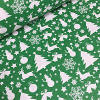 Ткань зеленого цвета с снеговиками, елками и оленями №773